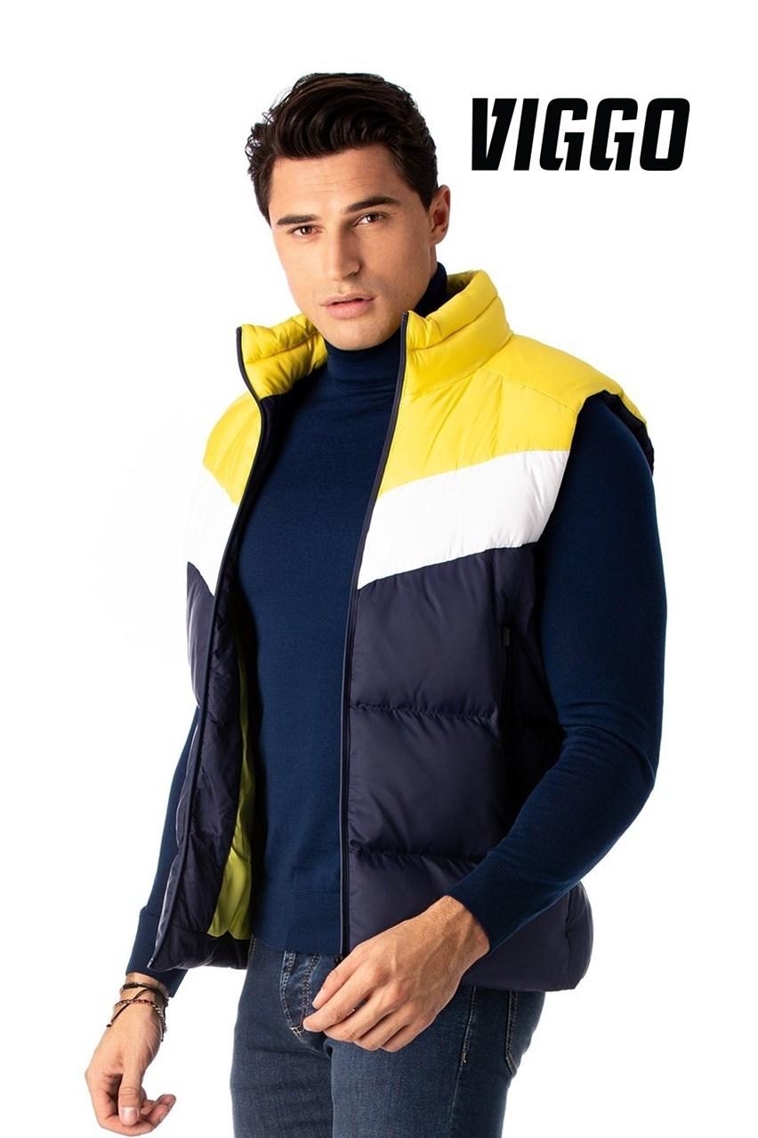 Vesta sport navy cu alb si galben imagine